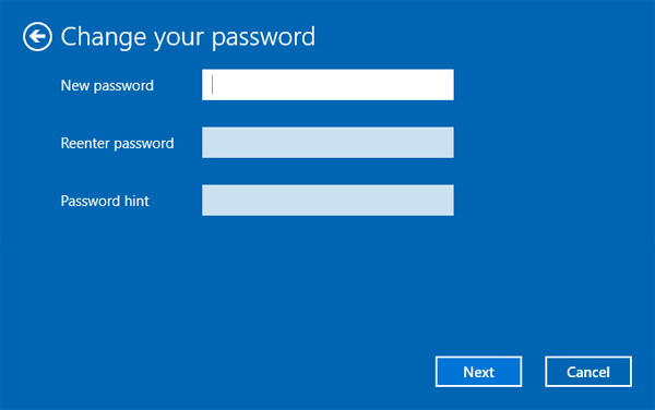 Change Password Windows 10
