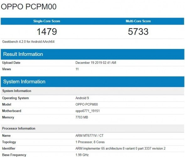 Oppo A91 GeekBench