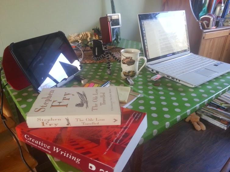 Desk with laptop etc
