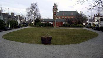 English: Wigtown market square gardens. The ga...