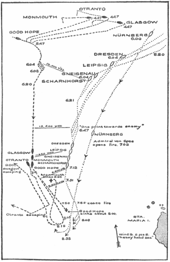 Map showing British and German ships and movem...