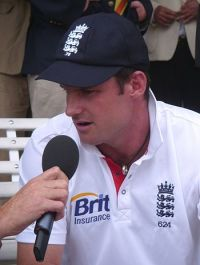 English: Andrew Strauss being interviewed at t...
