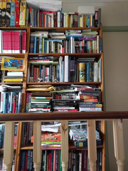 My writer's bookshelf, where all the books on the craft of writing go, as well as useful reference works.