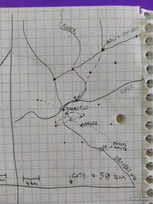 Sketch map of the area of operations in First Mission ANDR12