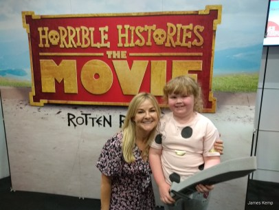 Sarah Hadland with Lucy at the preview of Horrible Histories the movie (photo: James Kemp)