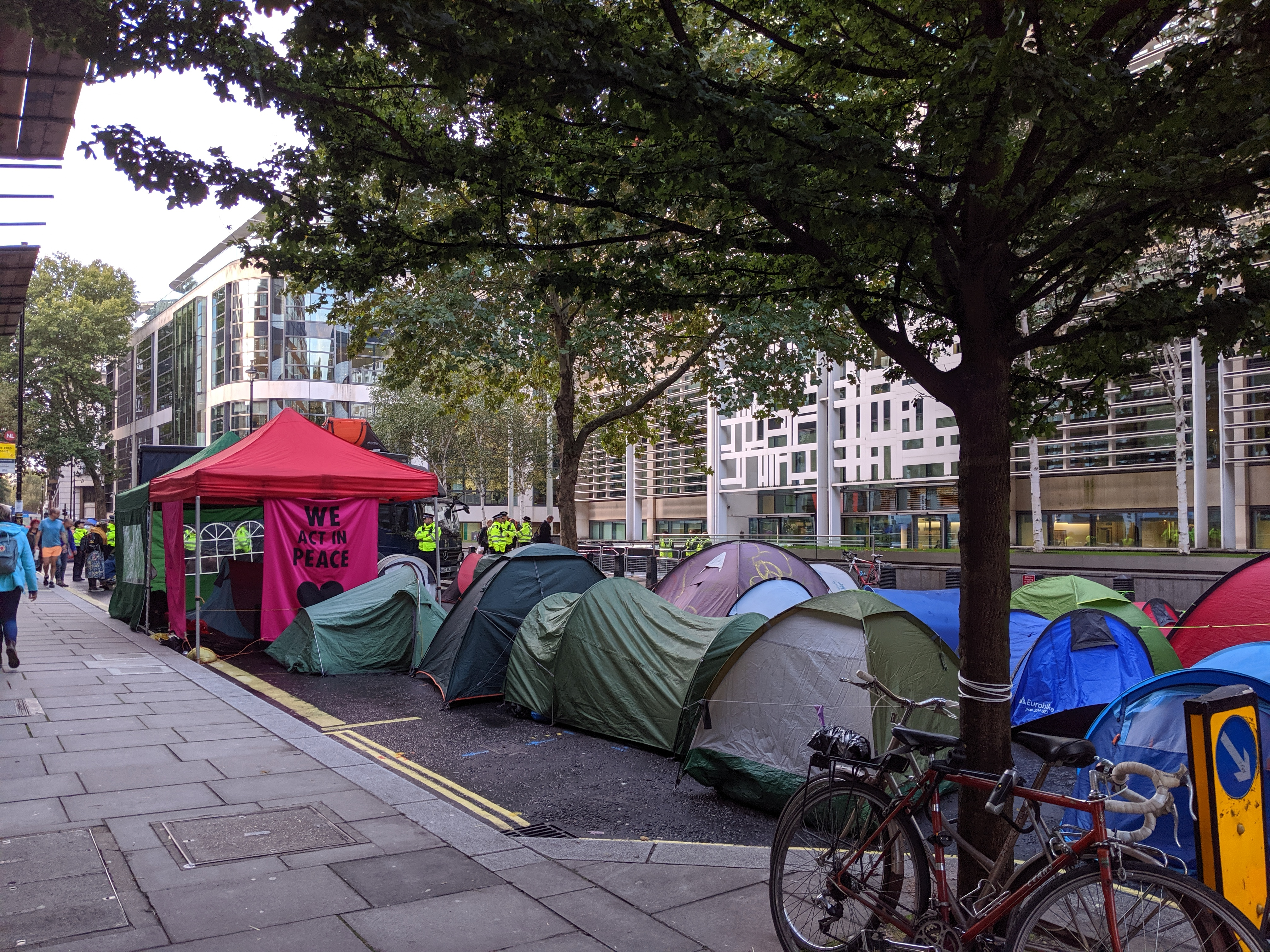 Tents in Marsham Street, outside the Home Office building. Tuesday morning around 0730 (8th October 2019
