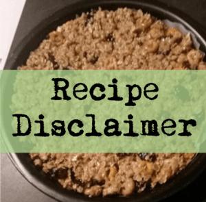 recipe disclaimer