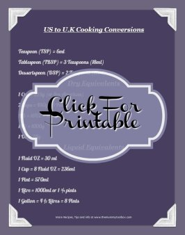 U.K to US Cooking Conversions printable