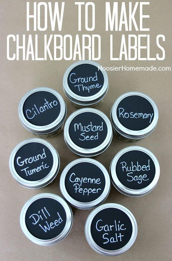 Hoosierhomemade.com - chalkboard labels - 10 projects for leftover chalkboard paint
