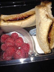 Vegan PB &J with raspberries
