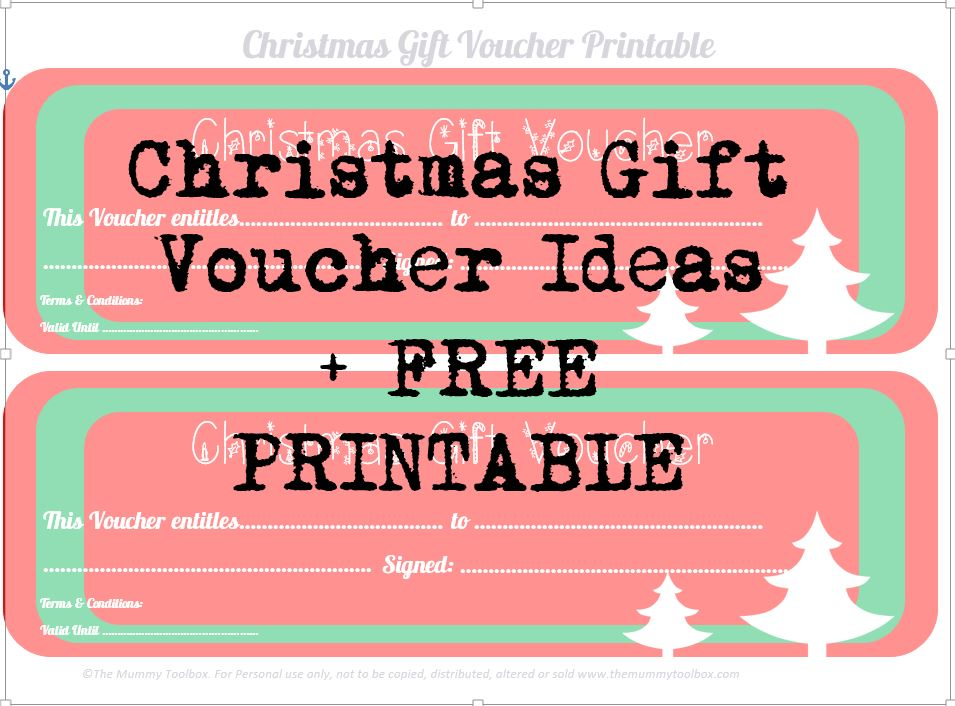 photograph about Printable Voucher called Free of charge Printable Xmas Reward Vouchers - The Mummy Toolbox