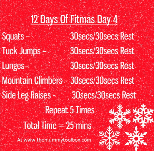 The 12 Days of Fitmas Day 4 - saveable image of above workout text