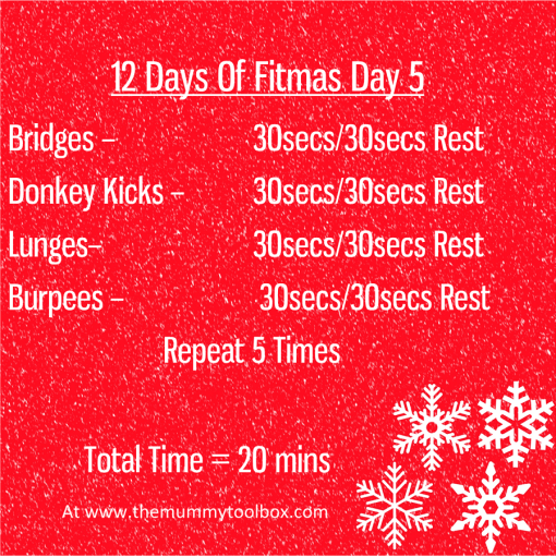 The 12 Days of Fitmas - Day 5 - saveable image of written workouts above