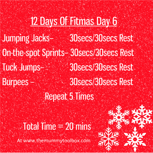 The 12 Days of Fitmas - Day 6 - repeat of above workout text for saving purposes