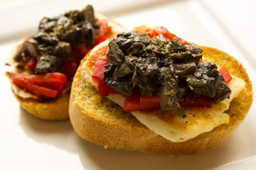 Mushroom, Halloumi & Roasted Red Pepper Bruschetta