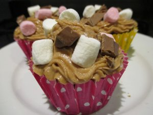 Rocky Road Cupcakes with Cream Cheese Frosting ready to eat