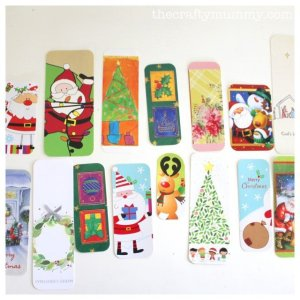 Upcycle Holiday Card Ideas - The Mummy Toolbox - Christmas Bookmarks by The Crafty Mummy