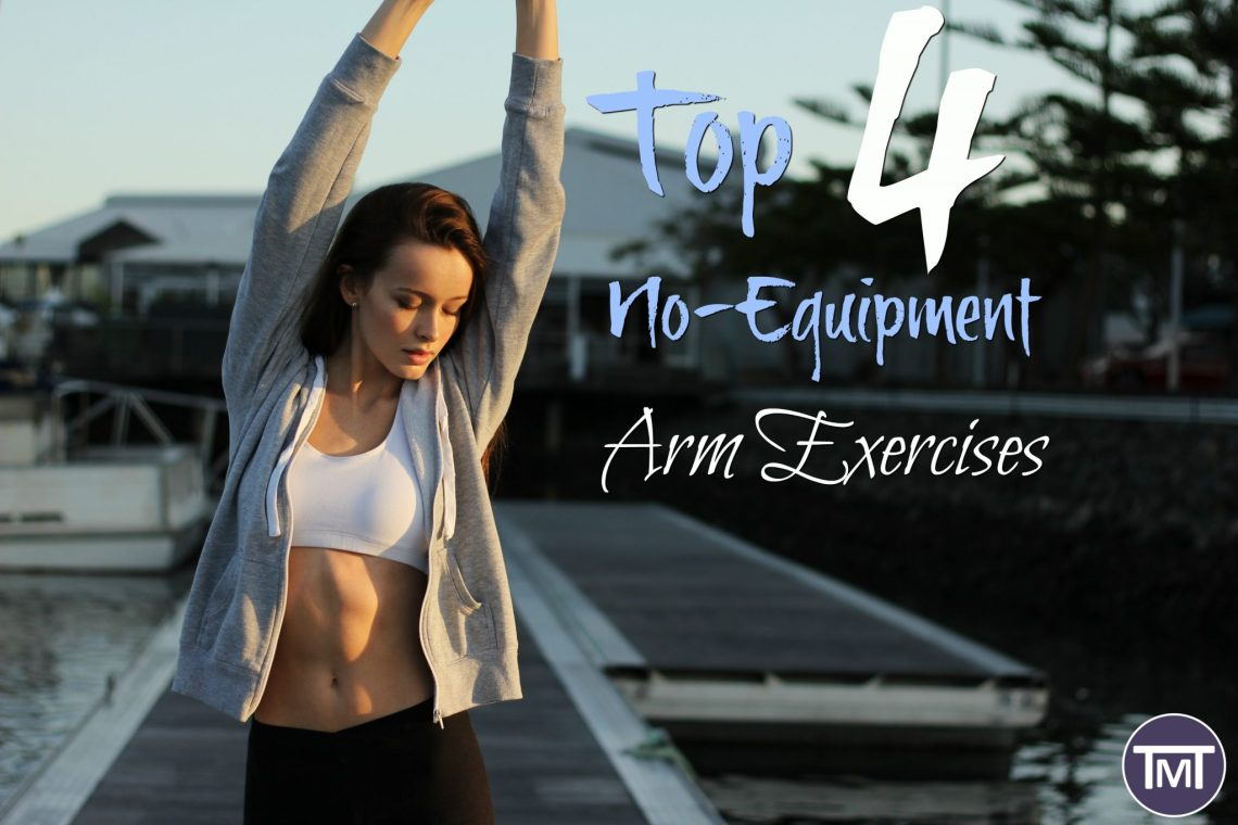 woman stretching to the side with house in the background and text overlay - Top 4 no equipment arm exercises