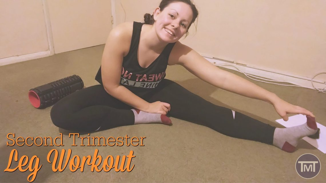 me doing a stretch on the floor with post title written in orange