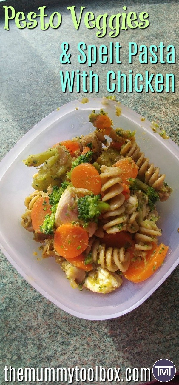 Spelt pasta is my new favourite ingredient, I'm incorporating it into meal prep with this lunch or dinner option; pesto veggies & spelt pasta with chicken.
