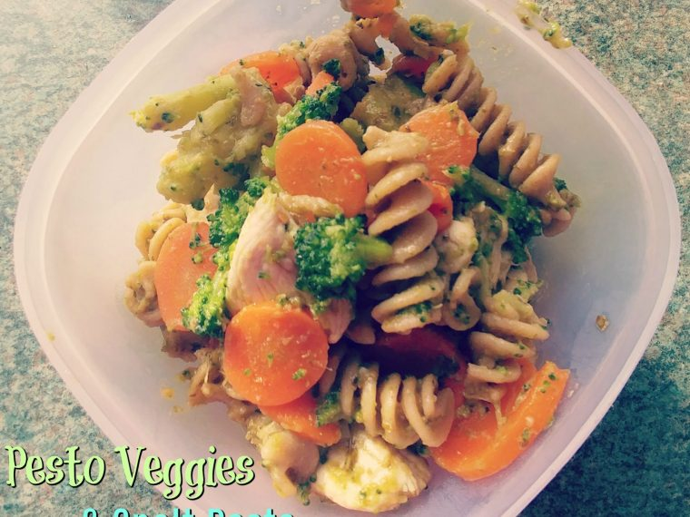 pesto veggies and spelt pasta with chicken