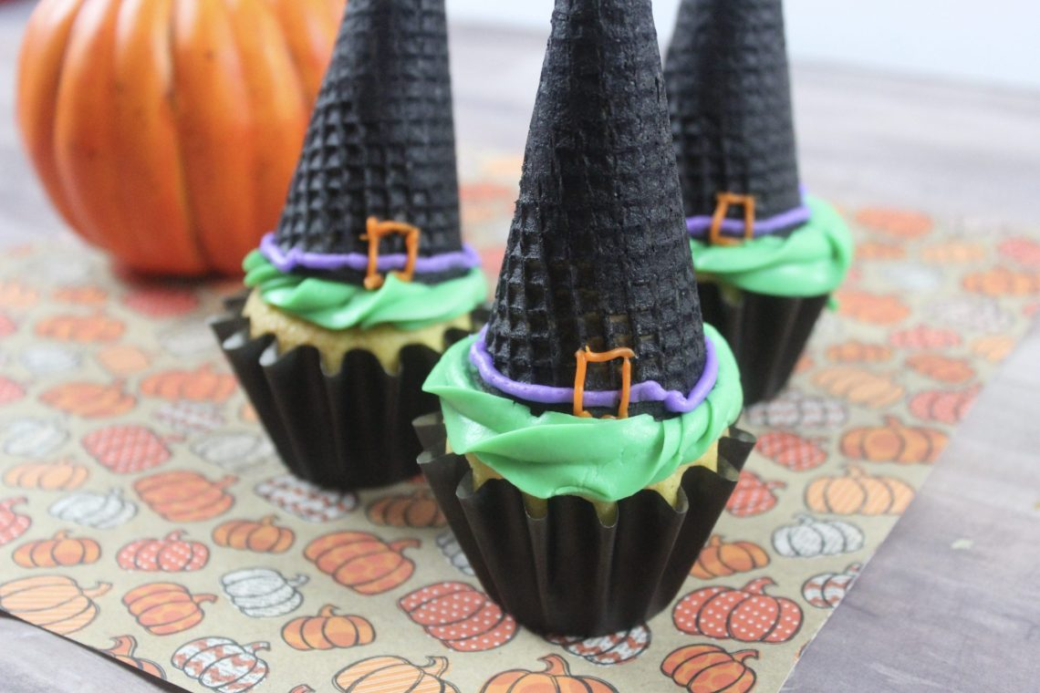 witch hat cupcakes second view on pumpkin paper