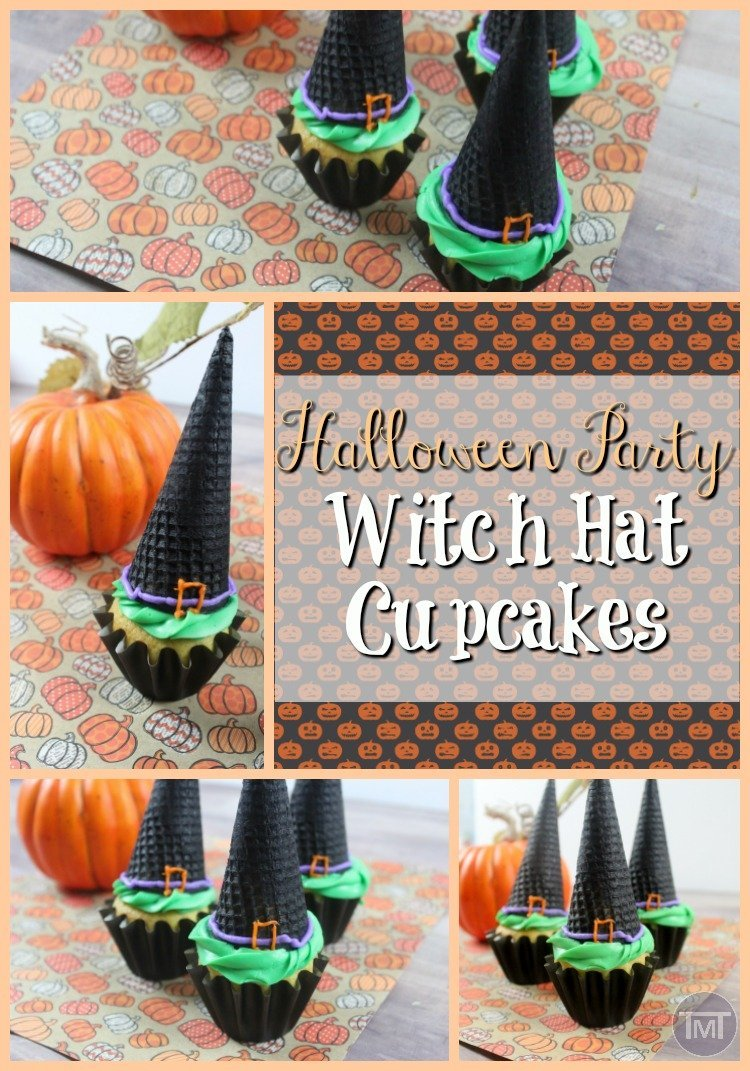 Halloween party witch hat cupcakes as well as some more Halloween party goodies. #halloween #halloweenparty #witchcupcakes #cupcakes #food