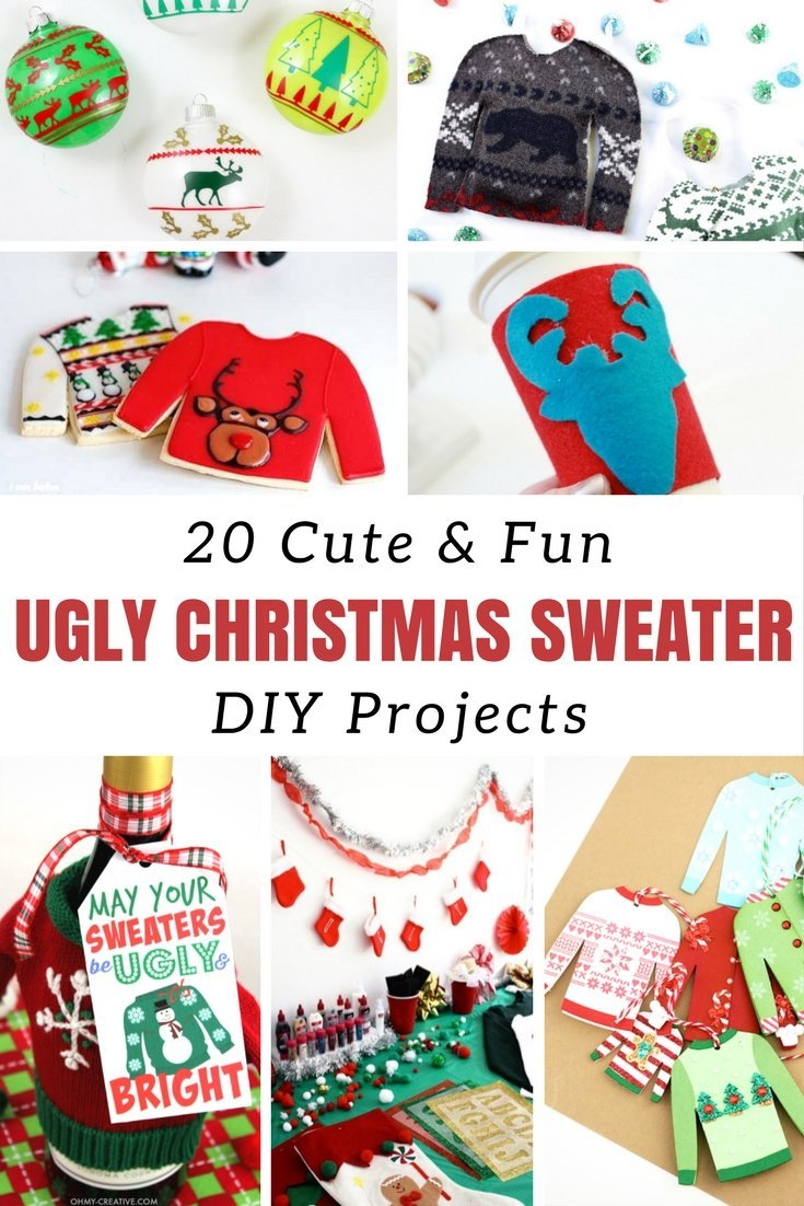 Have fun with the ugly Christmas sweater tradition and enjoy DIY Christmas projects from jewellery, free printables, upcycling and plenty more. #uglyChristmasjumpers #Christmasprojects #DIY #upcycling