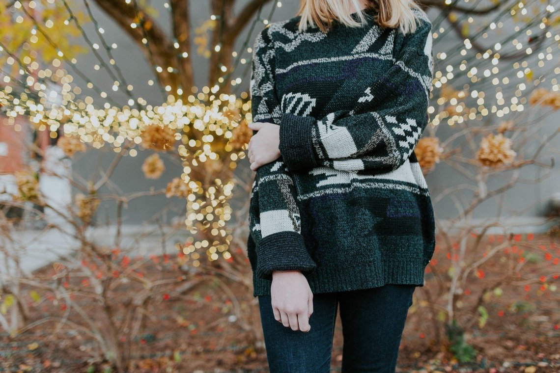 woman in a christmas jumper