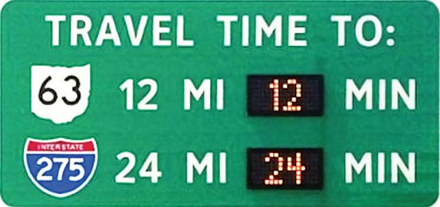 An Ohio DOT dynamic message sign shows travel times. (Photo provided by Ohio Department of Transportation)
