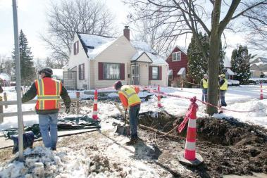 Work to remove lead-tainted pipes began in March; so far, service lines to 33 homes have been replaced with copper pipes. The goal is to remove and replace 15,000 lines, but first the city must wait for funding to be made available. (Photo provided by the city of Flint)