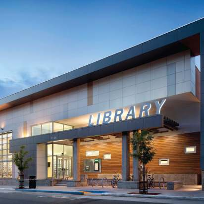 Certified LEED Platinum, Berkeley Public Library — West Branch actually produces enough extra electricity to power two average-sized Berkeley homes for a year. (Photo by David Wakely)