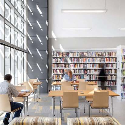 Berkeley Public Library — West Branch, located on University Avenue, is California's first net-zero energy library. (Photo by David Wakely)