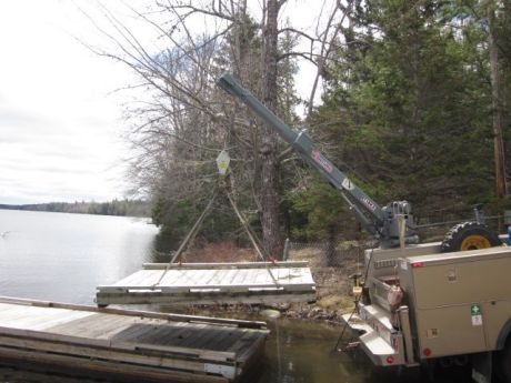 The Venturo ET18KX crane has allowed Joe Powers, maintenance coordinator for the Boating Facility Program through the Maine Department of Agriculture, Conservation and Forestry, to easily put in and take out floating boat piers. (Photo provided)