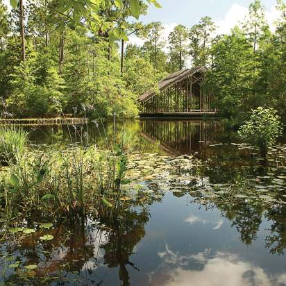 The Pinecote Pavilion in Crosby Arboretum's aquatic exhibit — designed by Arkansas architect E. Fay Jones — looks across the Piney Woods Pond. The Pinecote Pavilion received an Honor Award in 1990 from the American Institute of Architects, which is the highest honor in its field. (Photo by Lana Gramlich; property of the Crosby Arboretum Photo Archives