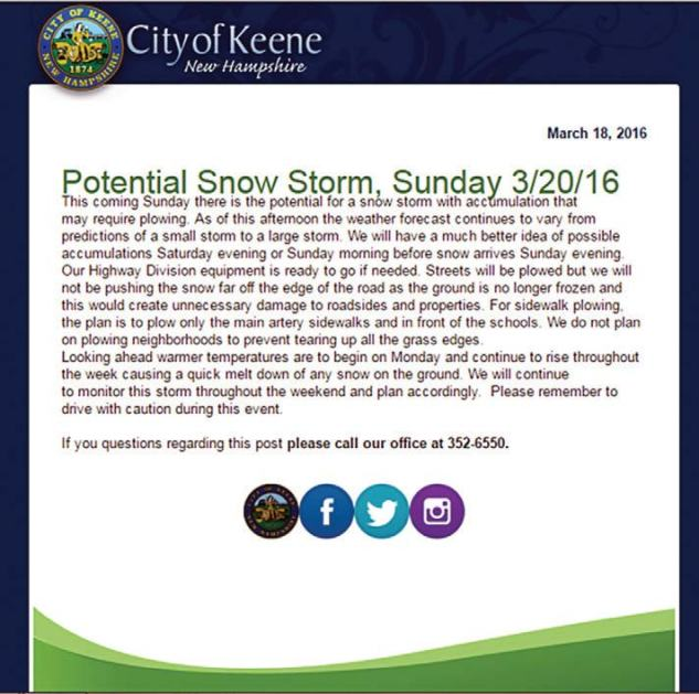 Pre-storm social media postings the city of Keene, N.H., Public Works Department. (Photos provided)