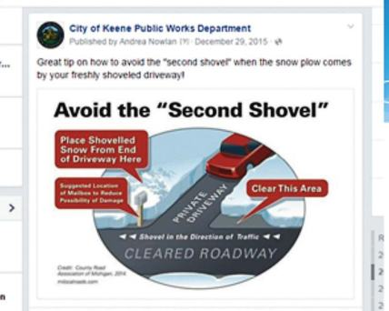 To keep its fans engaged, Keene Public Works Department also posts fun facts and trivia about winter and being prepared. (Photos provided)