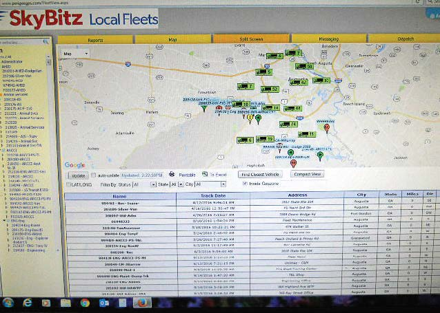 A map shows a group of vehicles used by a fleet manager with the name of the vehicle, location, date, miles, direction and city. (Photo provided)
