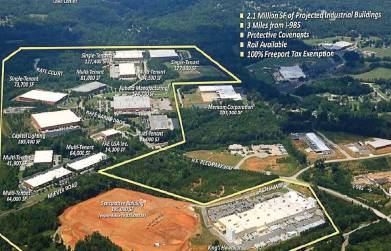 A P3 partnership between Pattillo Industrial Real Estate and Oakwood, Ga., has helped the growth of Oakwood South Industrial Park, which has been an economic boost to the community. (Photo provided by city of Oakwood, Ga.)