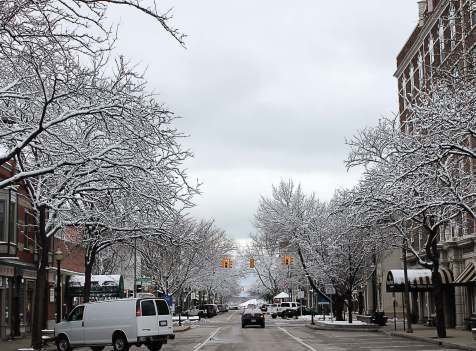 Despite the frost and ice on the trees in downtown Holland, the snowmelt system is working to keep the streets and sidewalks free of snow and ice. Holland is home to the largest publicly owned snowmelt system in the United States, and it has been a draw for downtown development. (Photo provided)