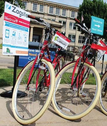 Pictured are examples of the bikes available at the Stark County, Ohio, bike share program ribbon cutting in June 2015. The program is a partnership between the Canton Parks and Recreation Department, Stark County Park District and the Stark County District Library, with Zagster providing the bicycles and administering the program. (Photo provided)