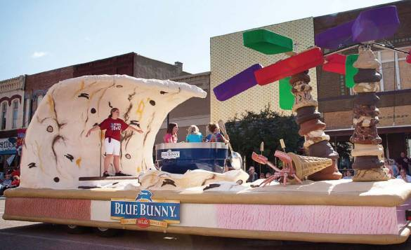 "Blue Bunny, Le Mars' largest employer, put the city on the map as the ""Ice Cream Capital of the World."" Pictured is the company's Ice Cream Days float. (Photo provided by Nancy Brechler Photography)"