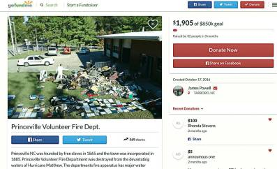 Hurricane Matthew completely wiped out Princeville Volunteer Fire Department, and now the department has launched a GoFundMe page in order to get back on its feet. The town requires a functioning fire department to really get recovery efforts underway. (GoFundMe.com)