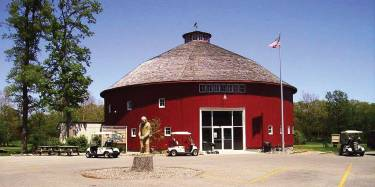 The Widemen-Gehrig round barn, constructed in 1910, was restored and served as a community building and nature center before being converted in 2005 into the golf club at Mill Creek Golf Course in Rochester. (Photo provided)