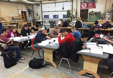 In the classroom, Woonsocket Area Career & Technical Center located in Rhode Island — students focus on learning the code requirements for residential construction. (Photo provided)