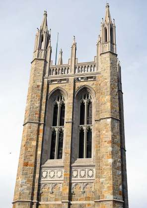 Extensive work was completed on Norwood Town Hall's carillon tower, which prior to the renovation had some of its stones falling. The renovation work included complete scaffolding of the bell tower to remove, clean and replace the existing masonry veneer. (Photo provided by Compass Project Management)