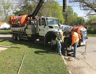 Public works employees continue sewer cleaning using pipe jetting. (Photo provided)