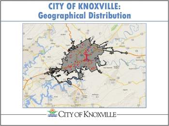 Knoxville, Tenn., has over 200 active listings on Airbnb. To enforce its proposed ordinance allowing the rental of already-occupied homes, Knoxville hopes to work with a software company to get weekly reports on properties listed on the Airbnb website in addition to complaints from surrounding residents. (Map provided)