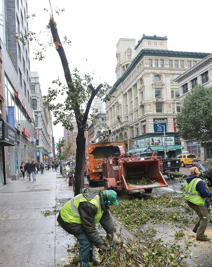 While some departments might not seem like critical components during a disaster, they actually would be high in the list of fuel priorities if they are using equipment to clear streets of fallen trees. Pictured are recovery efforts in Manhattan streets. (Shutterstock.com)