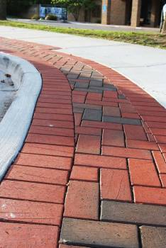 The city introduced permeable brick pavers into the downtown area to release rainwater into the ground rather than the storm sewers. (Photo provided)